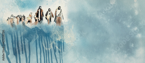 Foto Jesus and the disciples. Christian watercolor background