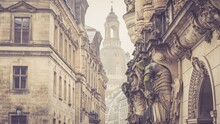 Monumental Statues In Dresden Old Town. Toned Image