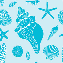 Stylized Beach Seashells Aqua Blue Seamless Pattern. Seamless Pattern In Aqua Blue Hues Featuring Stylized Seashells And Starfish.