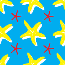 Summer Starfish Neon Seamless Pattern. Brightly Colored Seamless Starfish Background Pattern In Blue, Yellow, Red, And White.