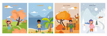 Set Of Four Seasons Backgrounds And Symbolic Characters