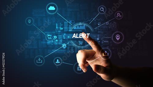 Fotografia Hand touching cybersecurity button