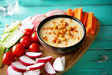 Hummus Appetizer With Carrot, Radish, Tomato And Cucumber