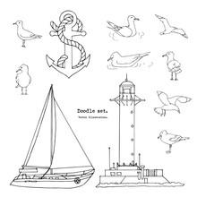 Hand Drawn Summer Seaside Print. Marine Pattern In Cartoon Style. Set Of Sketch Gull, Seabird, Seagull , Lighthouse, Anchor, Yacht, Boat . Isolated Doodle Vector Illustration Set. Sea, Ocean, Beach