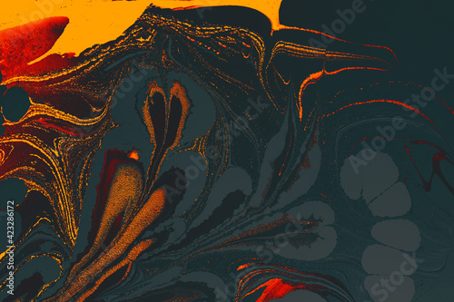 Fototapeta Ebru marbling Art with flower patterns. Abstract background template obraz