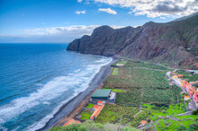 Banana Plantations Facing A Beach At Vallehermoso, La Gomera, Canary Islands, Spain