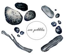 Watercolor Collection Of Sea Pebbles