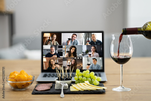 Fotografie, Obraz Virtual Wine Tasting Dinner Event Online