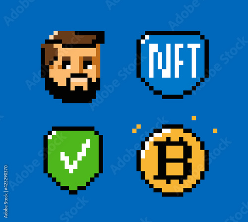 Fototapeta NFT, token, blockchain icon set. Digital currency pixel art vector obraz