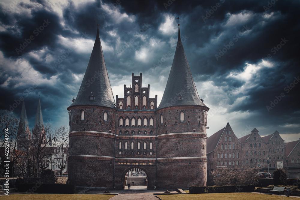 Fototapeta the Holsten Gate as a landmark of the Hanseatic City of Luebeck