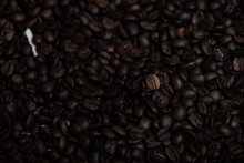 Top View Of Fresh Roasted Coffee Beans Background