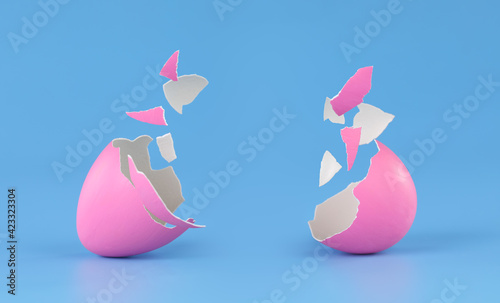 Fotografie, Tablou Pink Easter egg broken into pieces and cracked open with space for product placement