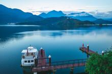 Shuishe Wharf At Sun Moon Lake In Nantou County, Taiwan In Early Morning