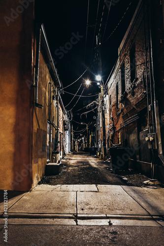 Obraz na plátně alley in the dark of night