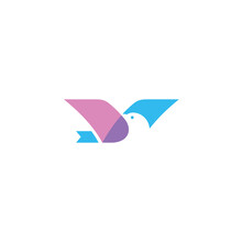 Simple Abstract Flying Bird With Overlapping Wings And Negative Space Head Logo Design Template Vector