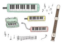鍵盤ハーモニカとリコーダーの手描きイラスト(カラー)