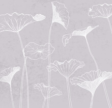 Wallpaper, Mural, Fresco. The Contour Of The Leaves On A Gray Background.
