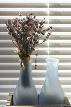 Small Bouquet Of Dry Lavender Agaist Shutters