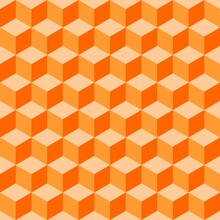 Abstract Multicolored Geometric Cubes. Orange Coral Seamless Pattern. Perfect Color Combination Background.