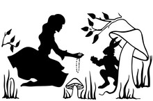 Alice And The White Rabbit. Drawing Ink. Silhouette. Vector, Isolate.