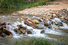 Big Rock Weir, The Water Overflowing Like A Waterfall, Rural Highway Cannot Cross