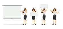 Businesswoman With Blank White Banner Set. Beautiful Business Woman Character Pointing On Presentation Screen. Successful Female Manager Holding Posters And Showing Empty Nameplate Placard. Vector