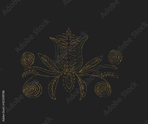 Fototapeta wzór folk 2 grafit i złoto obraz