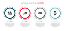 Set Towel Stack, Tape Measure, Location Gym And Smart Watch. Business Infographic Template. Vector