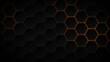 Leinwandbild Motiv Abstract dark hexagon pattern on orange neon background technology style. Modern futuristic honeycomb concept.