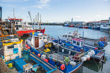 Harbor Seafront Town Fishing Port With Boats In Dock