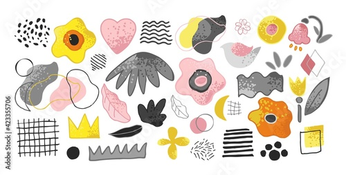 Set of decorative abstract elements in trendy colors isolated on white. Collection of flowers, shapes, lines, spots, birds, for the decoration of invitations, cards, posters. Cute vector illustration