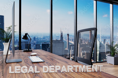 Obraz legal department; office chair in front of modern workspace with computer and skyline view; lawyer concept; 3D Illustration - fototapety do salonu