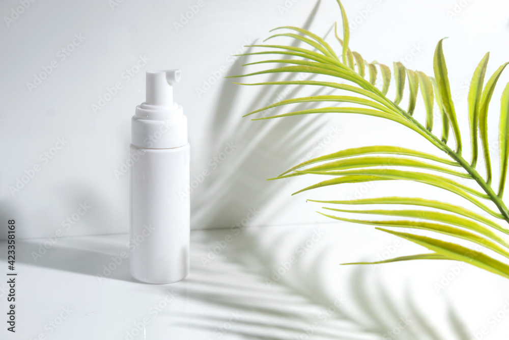 Fototapeta mockup of beauty fashion cosmetic makeup bottle lotion product with skincare healthcare concept on background - obraz na płótnie