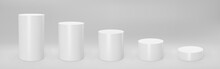 White 3d Cylinder Front View And Levels With Perspective Isolated On Grey Background. Cylinder Pillar, Empty Museum Stages, Pedestals Or Product Podium. 3d Basic Geometric Shapes Vector Illustration