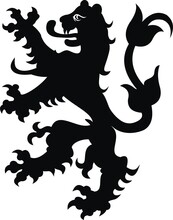 Heraldic Lion Vintage Illustration. Black White Silhouette