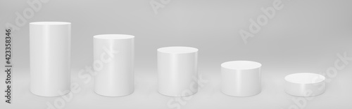 Photo White 3d cylinder front view and levels with perspective isolated on grey background