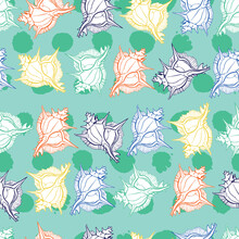 Vector Aqua Colourful Rows Of Murex Seashells Repeat Pattern With Polka Dots Background. Suitable For Gift Wrap, Textile And Wallpaper.