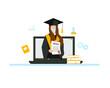 Student receives a diploma. Online education concept. Graduation quarantine 2021. Vector illustration