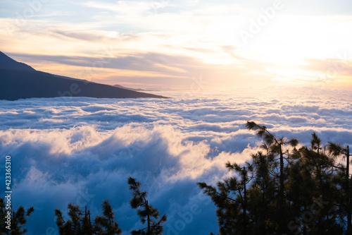 Canvas Print Chipeque viewpoint in Tenerife at sunset