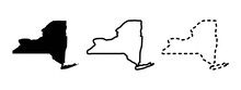 New York State Isolated On A White Background, USA Map
