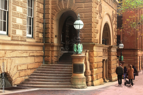 Obraz Entrance to a historic sandstone heritage listed building in the city. The former Treasury Building is now part of the Intercontinental Hotel. - fototapety do salonu