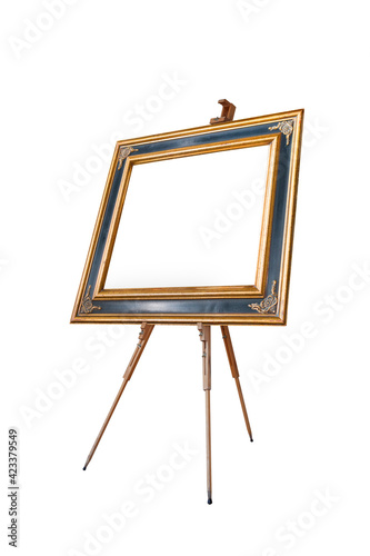 Fotografie, Tablou Picture oval frame with wooden easel isolated