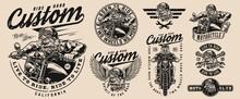 Vintage Custom Motorcycle Designs Set