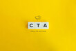 CTA (Call to Action) banner and concept. Block letters on bright orange background. Minimal aesthetics.