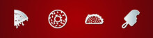 Set Slice Of Pizza, Donut, Taco With Tortilla And Ice Cream Icon. Vector