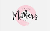 Mother's day background with flowers and hand writting typography, love you mom poster banner vector illustration