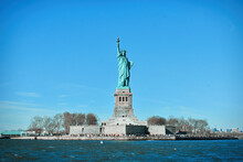 Statue Of Liberty, Colossal Neoclassical Sculpture And Also Known As Liberty Enlightening The World Seen In A Cruise On Hudson River, New York, USA