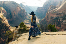 Girl Traveller On Zion National Park In Southwestern Utah Near The Town Of Springdale, USA