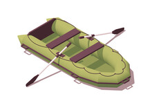 Isometric Pvc Boat With Paddles. Vector Illustration. Collection