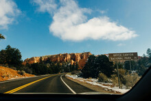 Scenic Byway On Highway 14 Through Cedar Canyon Toward Cedar Breaks And Bryce Canyon National Park.